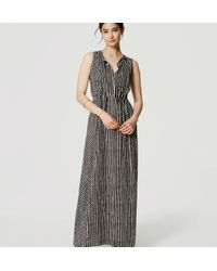 LOFT - Black Mosaic Stripe Maxi Dress - Lyst
