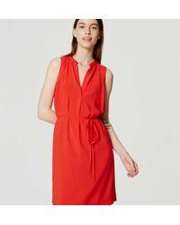 LOFT - Red Sleeveless Tie Waist Shirtdress - Lyst