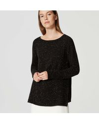 LOFT | Black Mixed Media Side Ribbed Sweater | Lyst