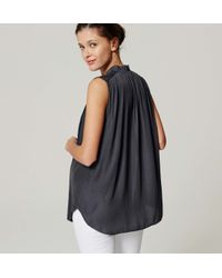 LOFT - Gray Petite Maternity Tie Neck Shell - Lyst