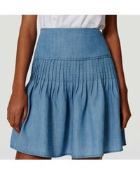 LOFT - Blue Chambray Flippy Skirt - Lyst
