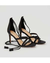 LOFT - Black Tasseled Ankle Tie Heels - Lyst