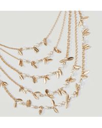LOFT - Metallic Pearlized Leaf Multistrand Necklace - Lyst