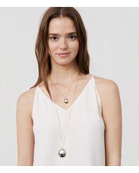 LOFT | Double Strand Metallic Pendant Necklace | Lyst