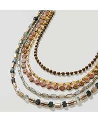 LOFT - Metallic Multistrand Beaded Chain Necklace - Lyst