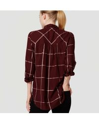 LOFT | Red Shimmer Plaid Softened Shirt | Lyst