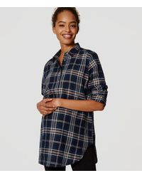 LOFT | Blue Maternity Shimmer Plaid Tunic Softened Shirt | Lyst