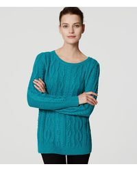 LOFT | Blue Petite Cable Tunic Sweater | Lyst