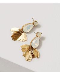 LOFT | Metallic Crystal Leaf Chandelier Earrings | Lyst