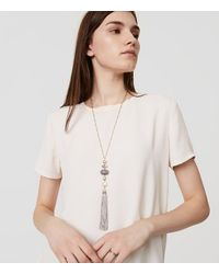 LOFT | Metallic Layered Stone Tassel Pendant Necklace | Lyst