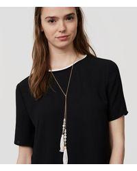 LOFT - Metallic Marbleized Beaded Tassel Wrap Necklace - Lyst