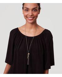 LOFT | Black Geo Charm Tassel Necklace | Lyst