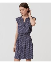 LOFT | Blue Diamond Dot Henley Shirtdress | Lyst