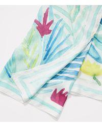 LOFT - Multicolor Watercolor Palm Square Scarf - Lyst