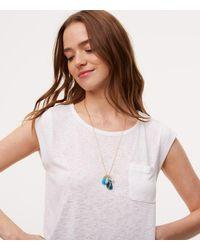 LOFT | Metallic Stone Dangle Pendant Necklace | Lyst