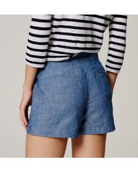 "LOFT - Blue Petite Chambray Sailor Riviera Shorts With 3 1/2"" Inseam - Lyst"
