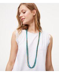 LOFT | Blue Oceanic Multistrand Beaded Necklace | Lyst