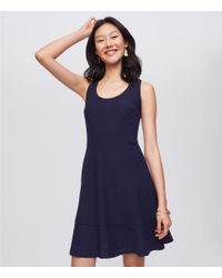 LOFT - Blue Tall Eyelet Flounce Dress - Lyst