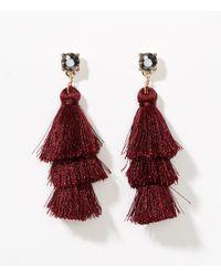 LOFT - Multicolor Tiered Tassel Earrings - Lyst