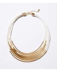 LOFT - Metallic Two Tone Multistrand Necklace - Lyst