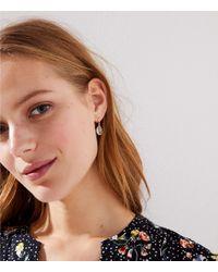 LOFT - Brown Faceted Stone Drop Earrings - Lyst