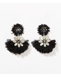 LOFT - Black Flutter Chandelier Earrings - Lyst