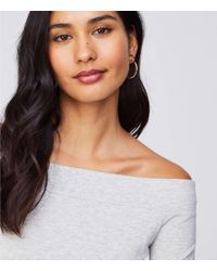 LOFT - Gray Off The Shoulder Tee - Lyst