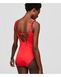 LOFT - Red Beach Ruffle One Piece Swimsuit - Lyst