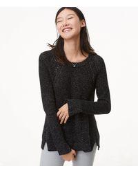 LOFT - Black Shimmer Cable Shoulder Sweater - Lyst