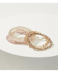 LOFT - Metallic Iridescent Beaded Stretch Bracelet Set - Lyst