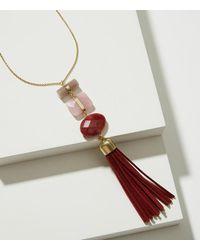 LOFT - Metallic Stacked Stone Tassel Necklace - Lyst