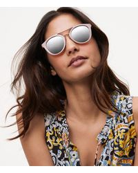 LOFT - Multicolor Double Bridge Round Sunglasses - Lyst