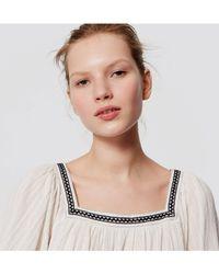 LOFT - White Petite Embroidered Square Neck Blouse - Lyst