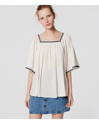 LOFT - White Petite Embroidered Square Neck Blouse - Lyst