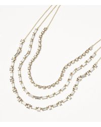 LOFT - Metallic Crystal Baguette Layered Necklace - Lyst