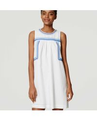 LOFT - White Embroidered Swing Dress - Lyst
