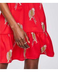 LOFT - Red Parrot Split Neck Flippy Dress - Lyst