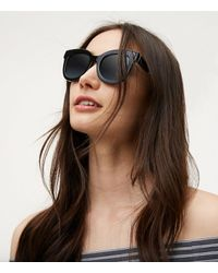 LOFT - Black Squared Cateye Sunglasses - Lyst
