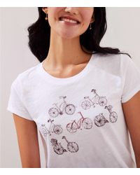 LOFT - White Bicycle Tee - Lyst