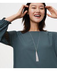 LOFT - Metallic Pave Chain Tassel Necklace - Lyst