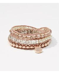 LOFT - Multicolor Crystal Beaded Wrap Bracelet - Lyst