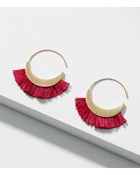 LOFT - Multicolor Fringe Hoop Earrings - Lyst