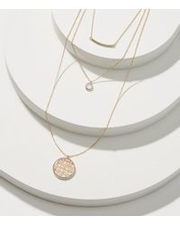 LOFT - Metallic Layered Filigree Pendant Necklace Set - Lyst