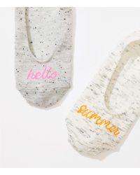 LOFT - Gray Hello Summer No Show Sock Set - Lyst
