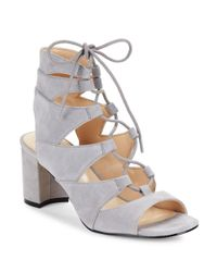 Nine West - Gray Take It Up Suede Sandals - Lyst