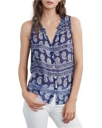 Velvet By Graham & Spencer | Blue Mimi Feather Print Top | Lyst