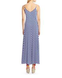 Polo Ralph Lauren Blue Striped Jersey Maxi Dress