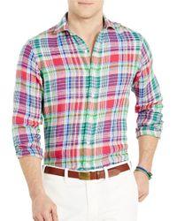 Polo Ralph Lauren | Pink Plaid Linen Estate Shirt for Men | Lyst