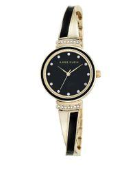 Anne Klein - Black Enamel And Goldtone Bangle Watch, Ak-2216bkgb - Lyst