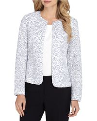 Tahari | Blue Floral Lace Open Jacket | Lyst